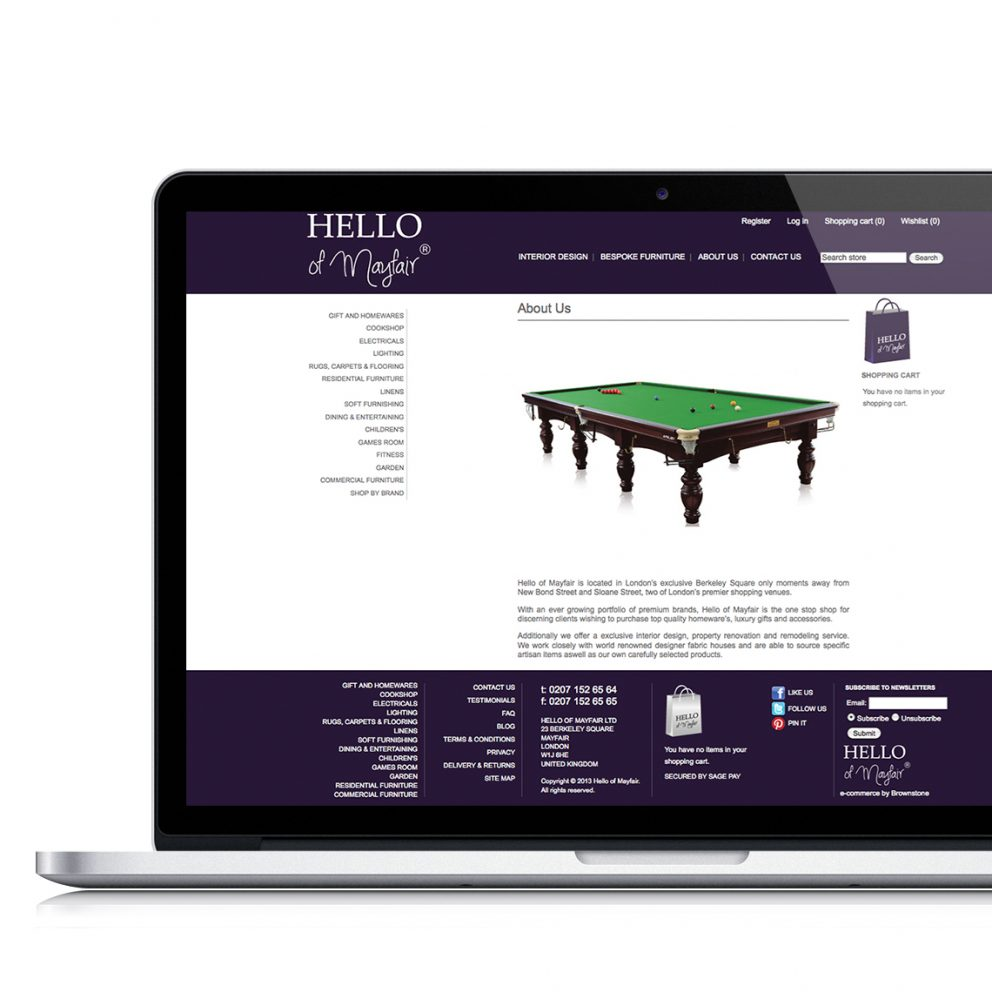 ecommerce for Hello of Mayfair
